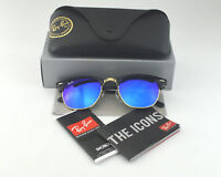 Ray-Ban RB3016 Clubmaster Classic 901/17 Black Frame/Blue Flash Glass Lens 51mm