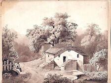 Eugene Ciceri French Barbizon school Mixed media drawing Landscape signed, 1829