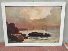 Dipinto vecchio quadro olio Marina vele firma non leggibile