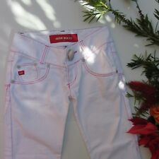 Designer Miss Sixty Italy W 27 Womens White Jeans Statement Button Pink Threads