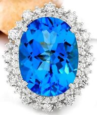 18.41 Carat Natural Topaz 14K Solid White Gold Diamond Ring