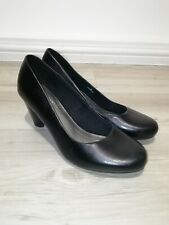 M&S Footglove Uk 6 Black Leather Court Shoes Wide Fit Cone Heel Formal Office