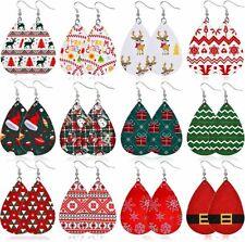 Faux Leather Teardrop Earrings Lot of 12 Pair Wholesale Christmas Jewelry BULK B