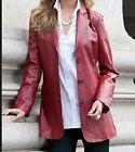 Women's Outerwear winter red genuine leather blazer jacket coat plus1X 2X 3X 5X