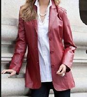 ladies women's winter red genuine leather blazer jacket coat plus1X 2X 3X 4X 5X