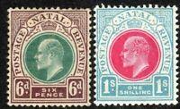 South Africa Natal 1902 green/brown 6d carmine/blue 1/- crown CA mint SG135/136