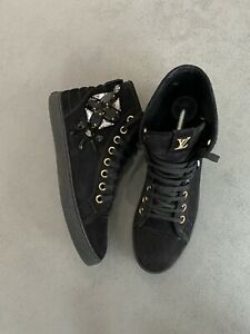 Auth Louis Vuitton suede hight sneakers black crystal sz 38,5