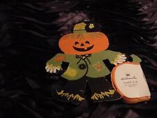 Vintage HALLOWEEN Small SCARECROW w/Honeycomb Pumpkin Table Decoration