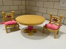 Fisher Price Briarberry Bears Furniture Table & 2 Chairs Dining Room Set 1998