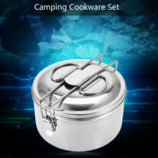 Portable Camping Cook Cooking Cookware Set Anodised Aluminium Pots Pans Kettle~