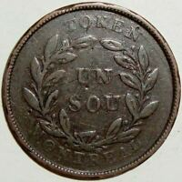 1836-1838 LOWER CANADA BANK OF MONTREAL UN SOU TOKEN - LC-27A1