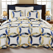 Provence Traditional Wedding Ring King Quilt 3 Pc Set Yellow, Blue on Ivory C&F