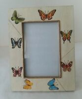 "Ceramic Square Gold Tone Butterfly Picture Frame 3 3/4"" x 5 1/2"""
