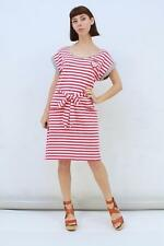 HI THERE KAREN WALKER Designer Red White Striped Embroidered Owl Dress AUS 14 L