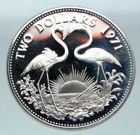 1971 The BAHAMAS Elizabeth II FLAMINGO Birds PROOF SILVER 2 Dollars Coin i86527