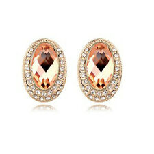 LOVELY ITALINA 18K ROSE GOLD PLATED GENUINE CUBIC ZIRCONIA AMBER STUD EARRINGS