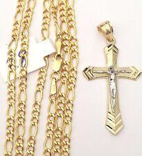 "Real 10k yellow white Gold Jesus Crucifix Cross Pendant Charm + Figaro Chain 20"""