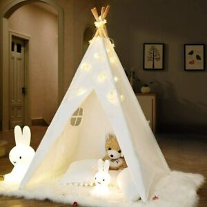 160cm Cotton Canvas Kids Teepee Tent Childrens Wigwam Indoor Play House White AU