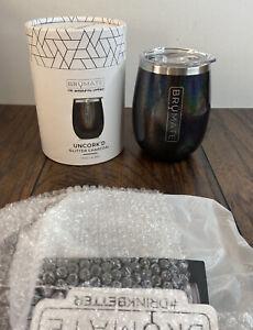 Brumate Uncork'd Glitter Charcoal 14oz BevGuard Wine Tumbler