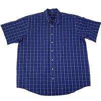 Arrow Mens Size 2XLT Tall Blue checks Short Sleeve Button Front Shirt