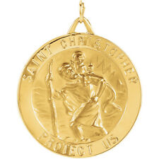 14KT Solid Yellow Gold 25 mm St. Christopher Medal-Medal Only No Chain