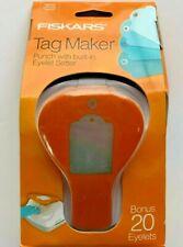 Fiskars Tag Maker Punch with built-in Eyelet Setter and 20 Eyelets Standard NIP