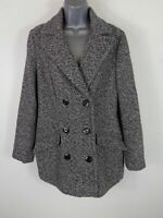 WOMENS M&CO GREY/BLACK BUTTON UP DOUBLE BREASTED SMART WINTER COAT JACKET UK 12
