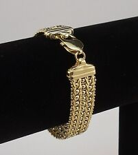 24k GOLD over  925 STERLING SILVER FACETED BEADS PAVE RICCIO CHAIN BRACELET 7.5