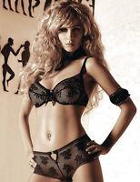 Ensemble sexy lingerie femme dentelle soutien-gorge + shorty noir ROZA NEFRETETE