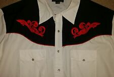 MENS HIGH NOON WHITE W/BLACK YOKE RED EMBROIDERY & PIPING WESTERN COWBOY SHIRT