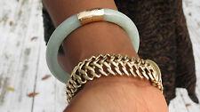 Estate Heavy 14k yellow gold Natural green Jade Jadeite Hinged bangle bracelet