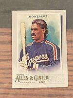 2020 Topps Allen and Ginter Base SP #315 Juan Gonzalez - Texas Rangers
