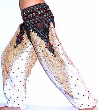 Sarouel Femme Pantalon Ethnique Aladin Harem Pant Aladdin yoga blanc white