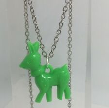 Green Deer Doe Charms Plastic Kitch Pendant Silver Chain  D069 Acrylic