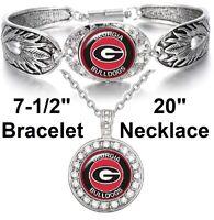 Georgia Bulldogs Womens 925 Sterling Silver Necklace Bracelet Set State D3D18