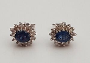 PAIR 9ct White Gold Sapphire & Diamond Claw Set Cluster Earrings Scrolls Box 375