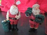 2 Vintage Midwest Santa ,Wreath, Christmas Tree Ornaments