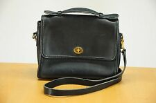 Coach Black Leather Court Bag 9870 Excellent Vintage Messenger Purse USA