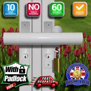Patio French uPVC Door DeadLock Bar-Easy Fit & Remove-N0 DRILLING-Deluxe Version