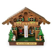Weather House, Forest Weather House with Man and Woman, Wood Chalet Barometer