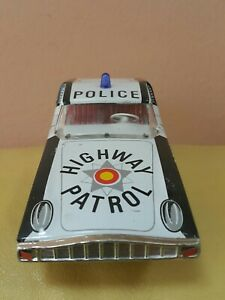 VINTAGE HIGHWAY PATROL CAR EHRI POLICE TIN TOY VEB DDR GDR FRICTION GERMANY 1974