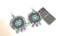 Emporio Armani gorgeous silk beaded large round dangle earrings New $195