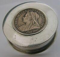 RARE ENGLISH VICTORIAN SOLID STERLING SILVER COIN BOX 1900 ANTIQUE COMMEMORATIVE