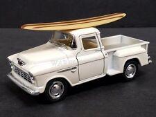 KINSMART 1/32 1955 CHEVROLET STEPSIDE PICK-UP W/ SURFBOARD DIECAST CAR WHITE