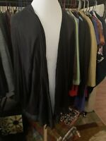 Catherines Womens Black Open Front Light Weight Cardigan Sweater Sz 3X