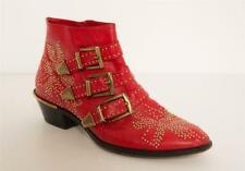 CHLOE Womens Red Leather SUSANNA Gold Studed Pointed Toe Ankle Boots 7.5-37.5