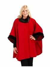 Red & Black Faux Fur Trim Plus Size Fleece Soft Wrap Cape Stole Poncho Size 28