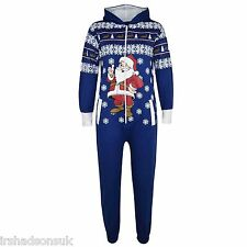 Kids Girls Boys Novelty Christmas Santa Fleece Onesie All in One Jumpsuit 5-13 11-12 Years Royal Blue