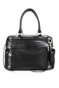 Rebecca Minkoff Womens Leather Detailing Zipper Tote Handbag Black Large