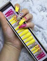 Pink Yellow Summer Melt False Fake Extra Long Ballerina Nails Set